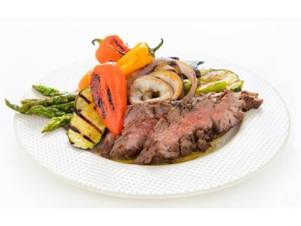 Flank steak with maple coffee rub, side of barbecue grilled vegetables