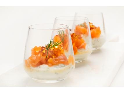 Smoked Salmon Verrines with Maple Pearls
