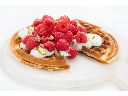 Raspberry Waffles with Grand Marnier® Maple Syrup