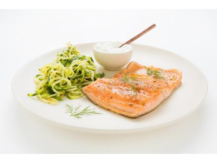 Trout fillet en papillote and zucchini spaghetti with maple dressing