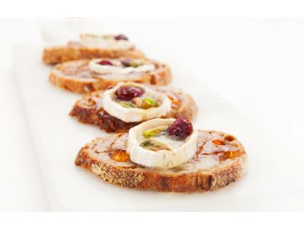 Cheese and Dried Cranberry Crostini with Maple Jelly