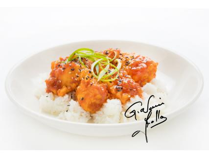 General Tao salmon with Thai flavour honey (created by Giovanni Apollo)
